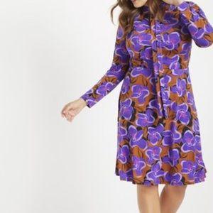 NWT Eloquii Jersey Tie-Neck Midi Floral Dress